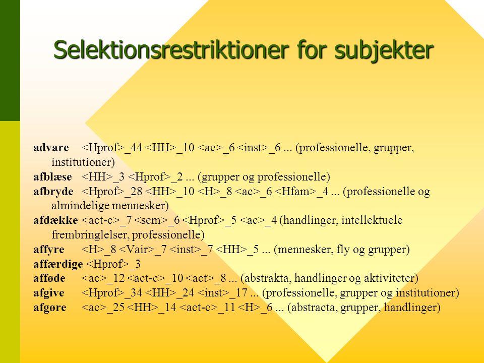 Selektionsrestriktioner for subjekter