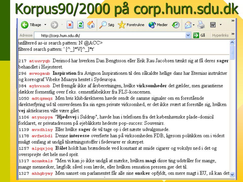 Korpus90/2000 på corp.hum.sdu.dk