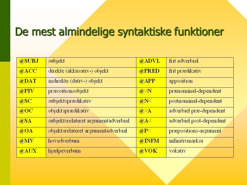De mest almindelige syntaktiske funktioner