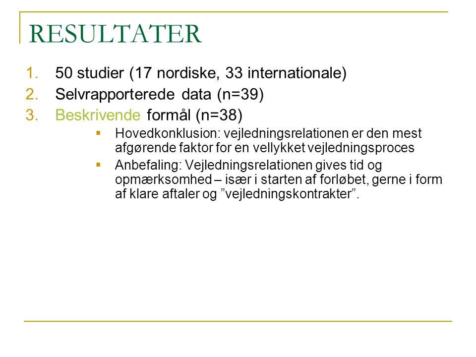 RESULTATER 50 studier (17 nordiske, 33 internationale)