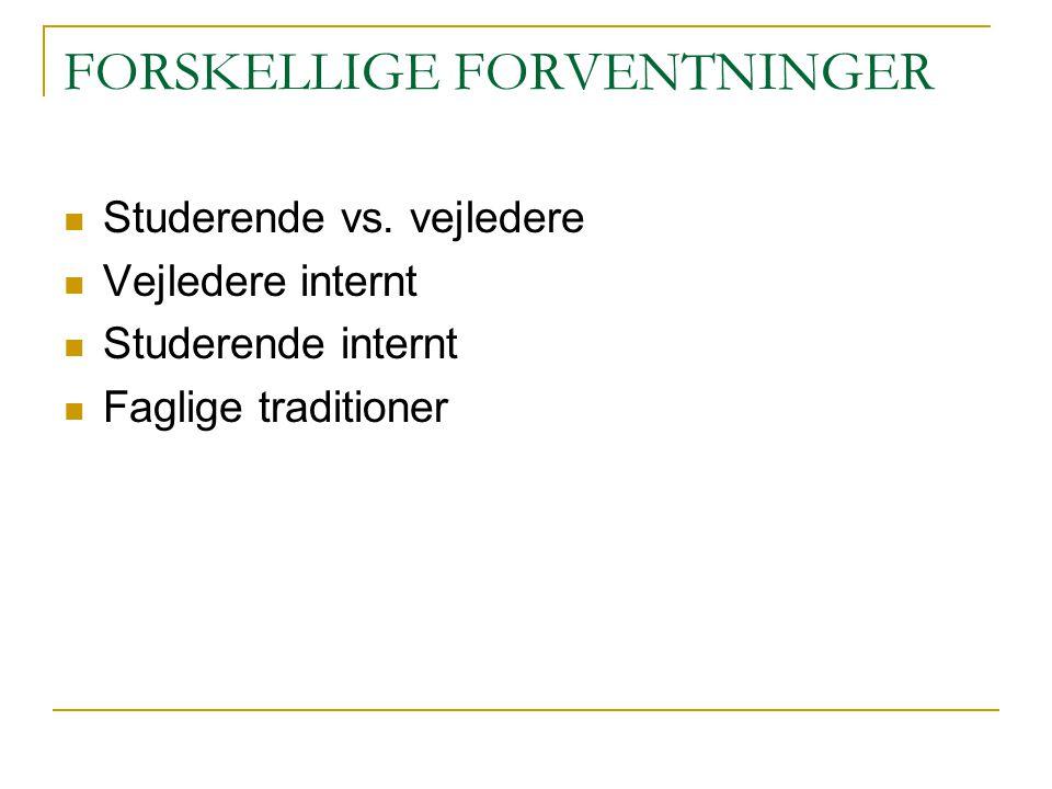 FORSKELLIGE FORVENTNINGER