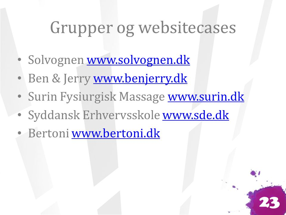 Grupper og websitecases