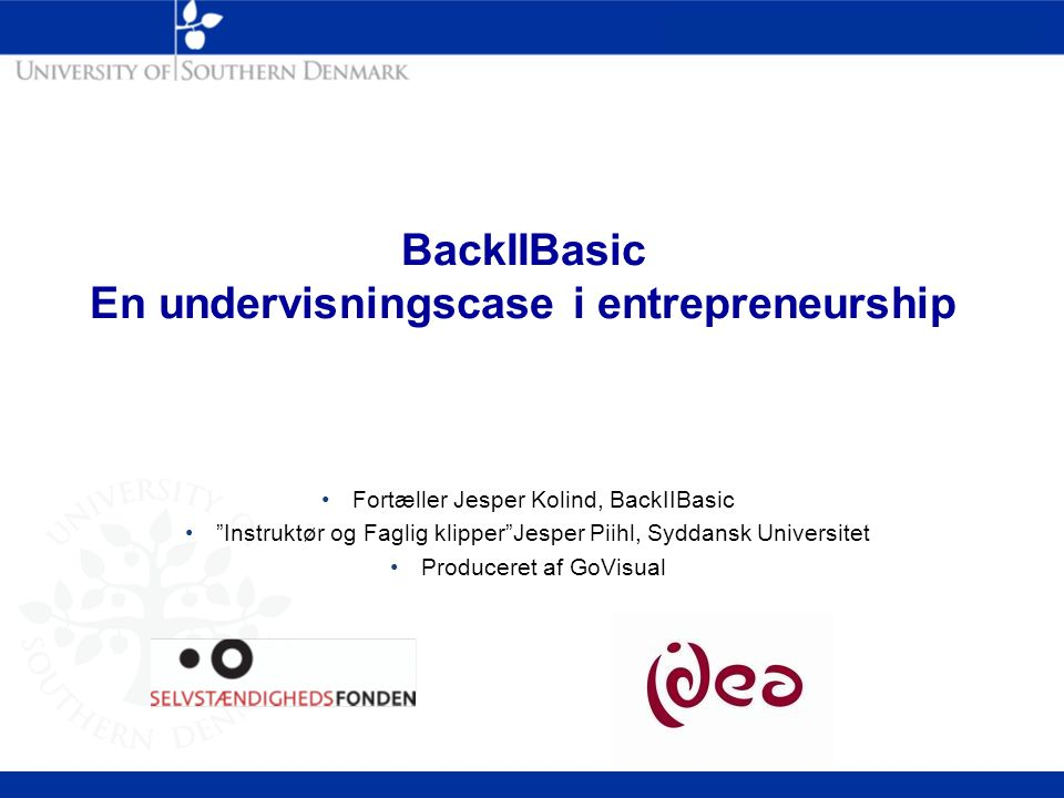 BackIIBasic En undervisningscase i entrepreneurship