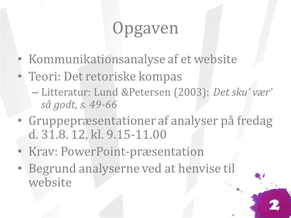 Opgaven Kommunikationsanalyse af et website