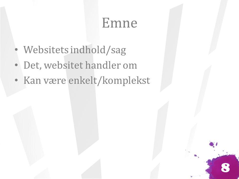 Emne Websitets indhold/sag Det, websitet handler om