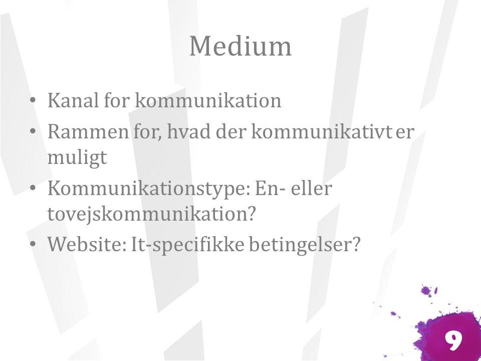 Medium Kanal for kommunikation