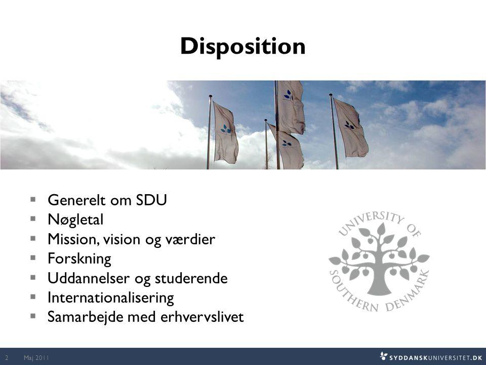 Disposition Generelt om SDU Nøgletal Mission, vision og værdier