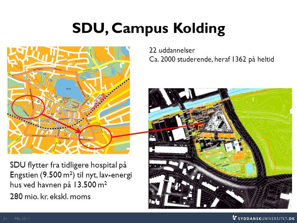 SDU, Campus Kolding 22 uddannelser. Ca. 2000 studerende, heraf 1362 på heltid.