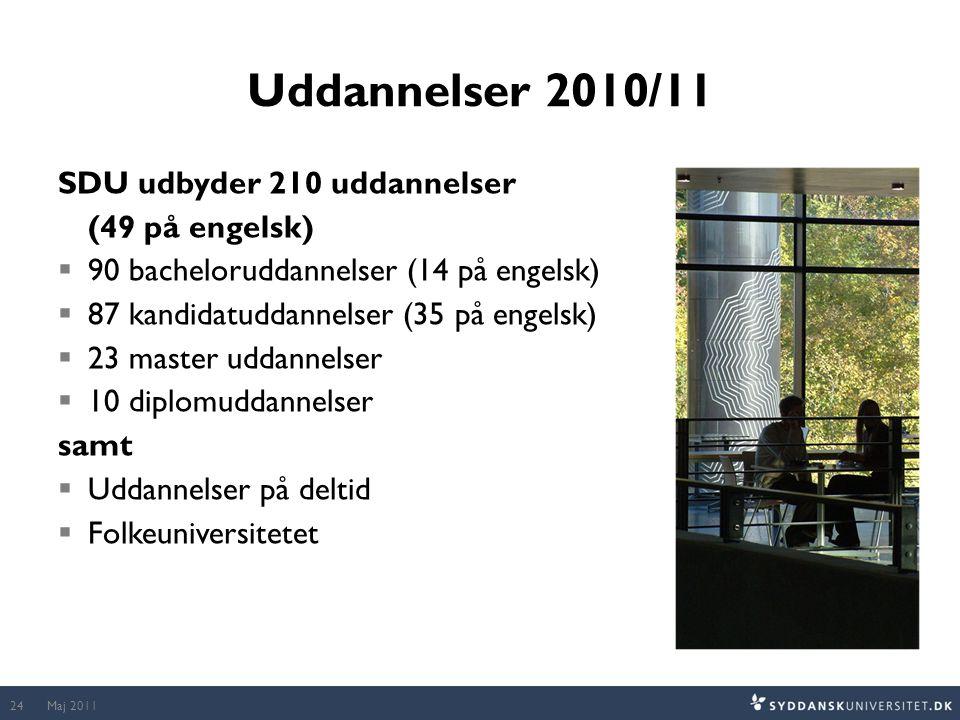 Uddannelser 2010/11 SDU udbyder 210 uddannelser (49 på engelsk)