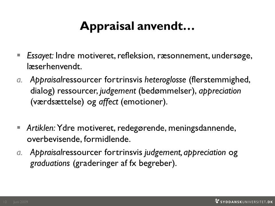 Appraisal anvendt… Essayet: Indre motiveret, refleksion, ræsonnement, undersøge, læserhenvendt.