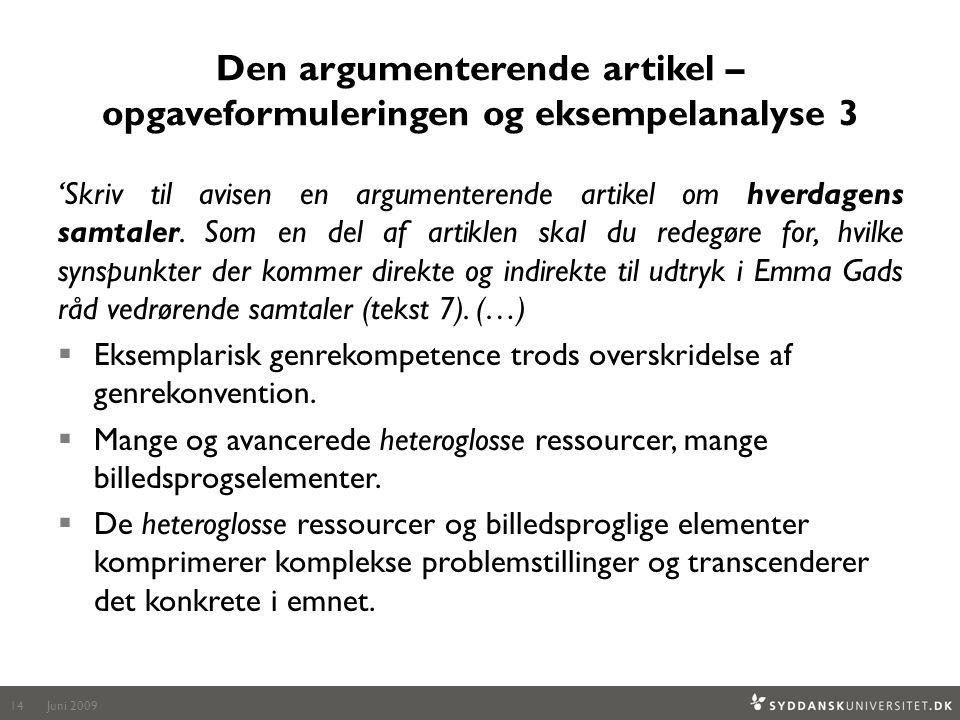 Den argumenterende artikel – opgaveformuleringen og eksempelanalyse 3