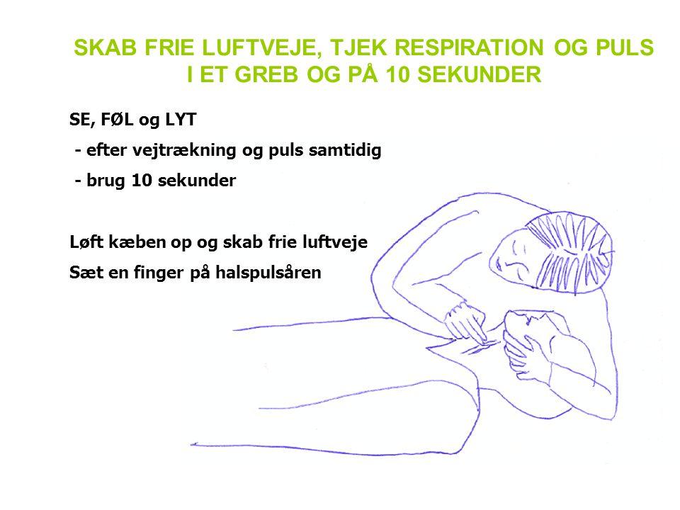 SKAB FRIE LUFTVEJE, TJEK RESPIRATION OG PULS I ET GREB OG PÅ 10 SEKUNDER