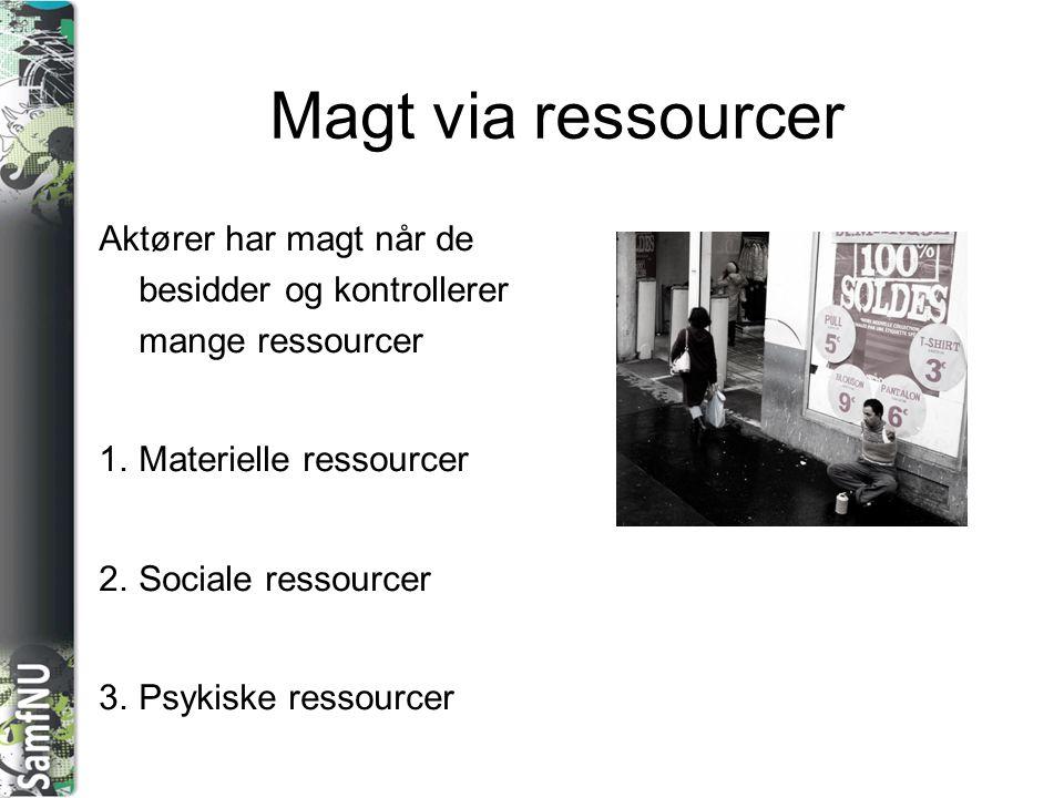 Magt via ressourcer Aktører har magt når de besidder og kontrollerer mange ressourcer. Materielle ressourcer.