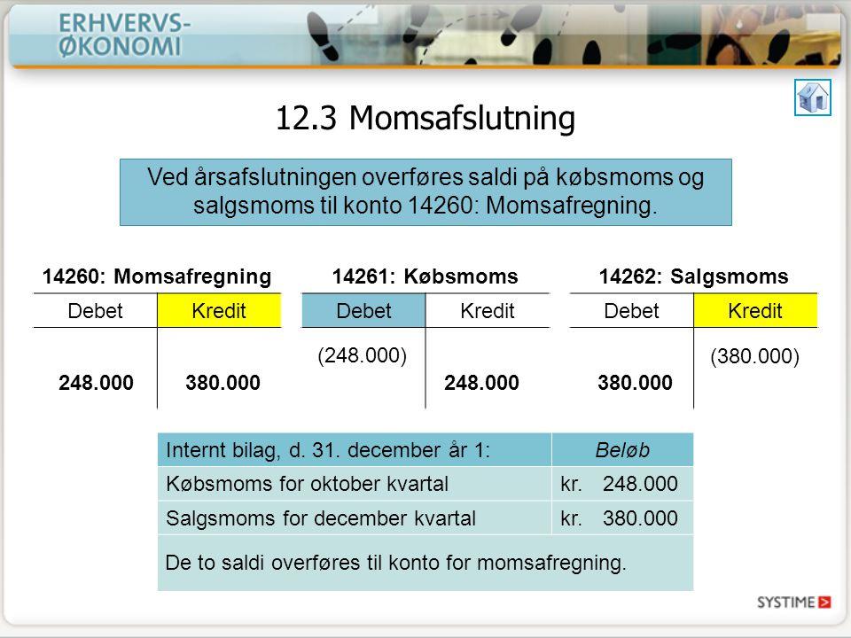 12.3 Momsafslutning Ved årsafslutningen overføres saldi på købsmoms og salgsmoms til konto 14260: Momsafregning.