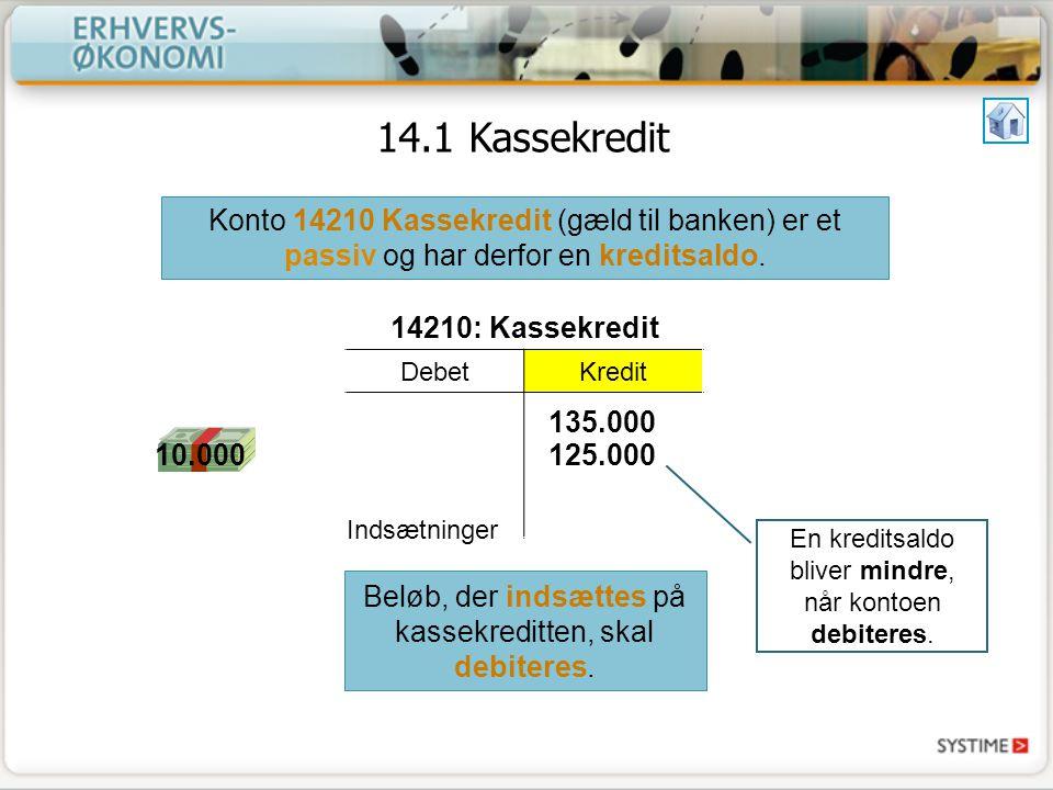 14.1 Kassekredit Konto 14210 Kassekredit (gæld til banken) er et passiv og har derfor en kreditsaldo.