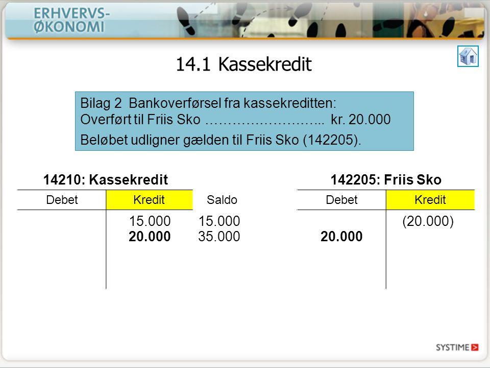 14.1 Kassekredit Bilag 2 Bankoverførsel fra kassekreditten: Overført til Friis Sko ……………………... kr. 20.000.