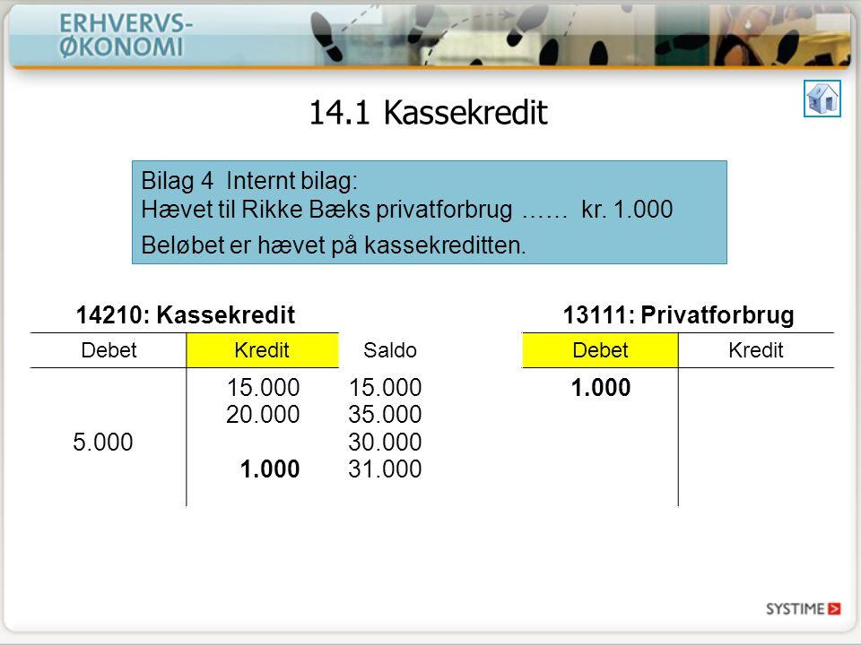 14.1 Kassekredit Bilag 4 Internt bilag: Hævet til Rikke Bæks privatforbrug …… kr. 1.000. Beløbet er hævet på kassekreditten.