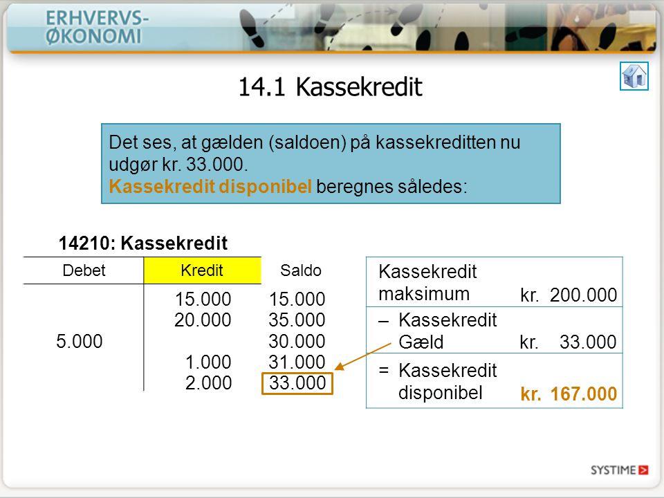 14.1 Kassekredit Det ses, at gælden (saldoen) på kassekreditten nu udgør kr. 33.000. Kassekredit disponibel beregnes således: