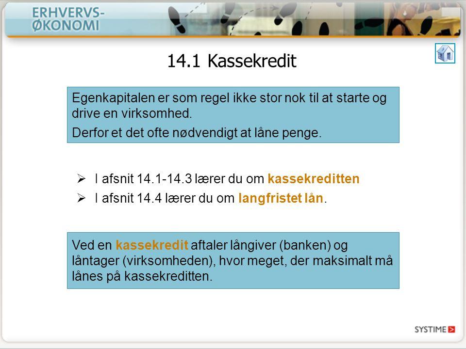 14.1 Kassekredit Egenkapitalen er som regel ikke stor nok til at starte og drive en virksomhed. Derfor et det ofte nødvendigt at låne penge.
