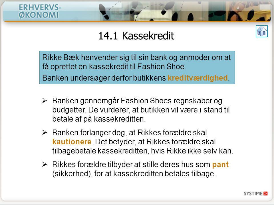 14.1 Kassekredit Rikke Bæk henvender sig til sin bank og anmoder om at få oprettet en kassekredit til Fashion Shoe.