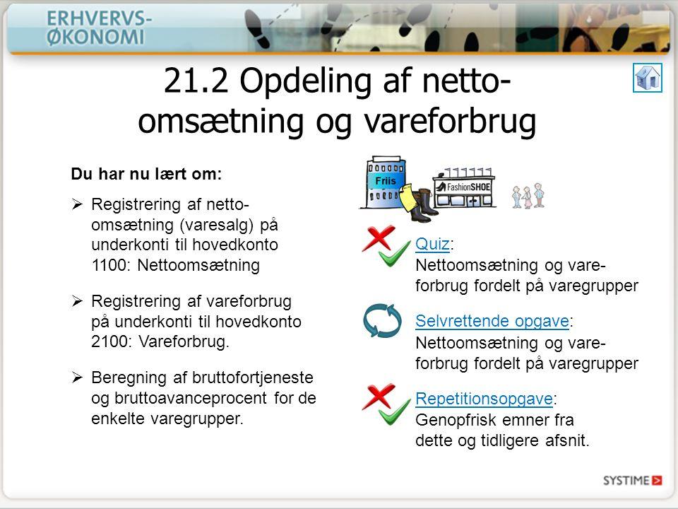 21.2 Opdeling af netto-omsætning og vareforbrug