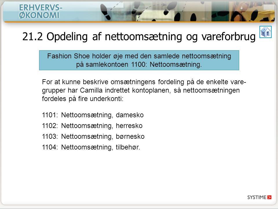 21.2 Opdeling af nettoomsætning og vareforbrug