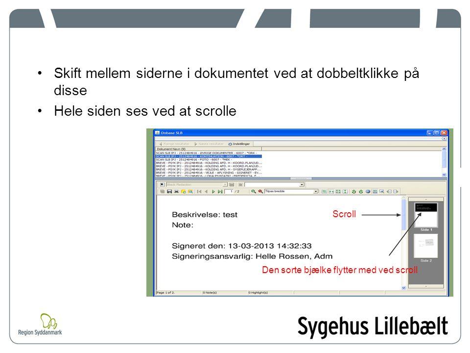 Skift mellem siderne i dokumentet ved at dobbeltklikke på disse