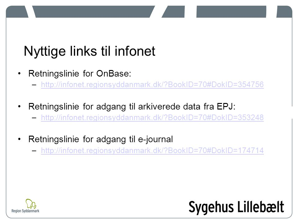 Nyttige links til infonet