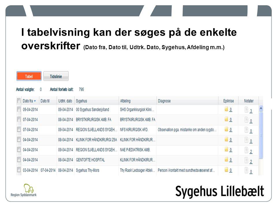 I tabelvisning kan der søges på de enkelte overskrifter (Dato fra, Dato til, Udtrk.
