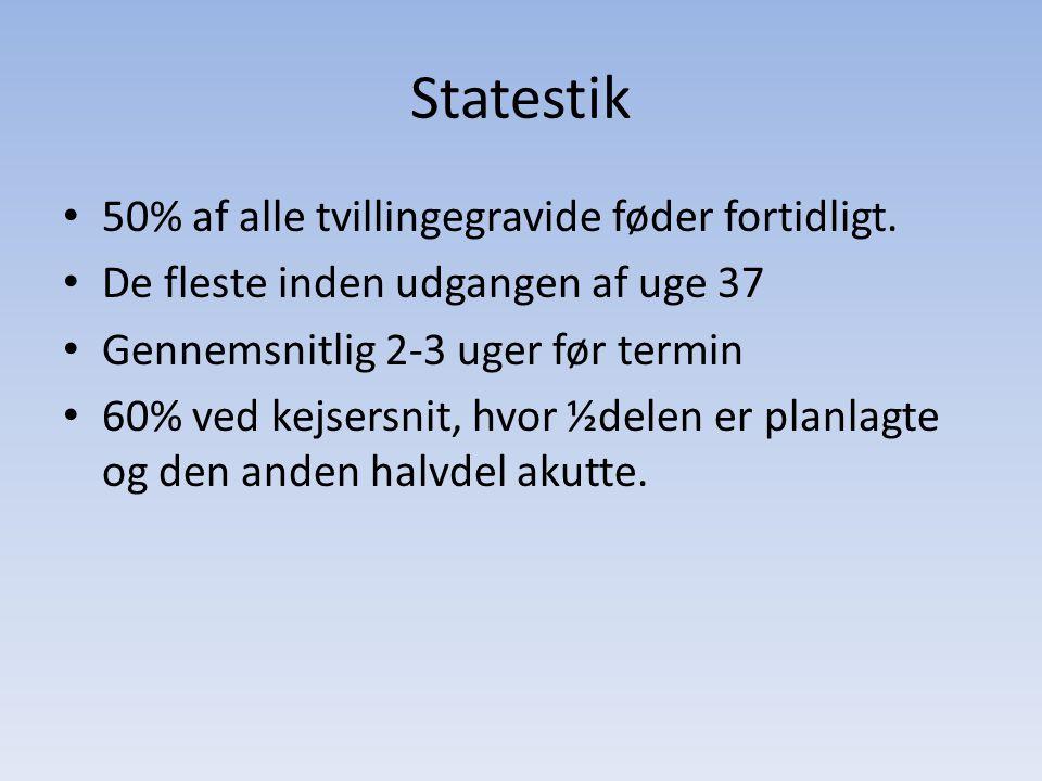 Statestik 50% af alle tvillingegravide føder fortidligt.
