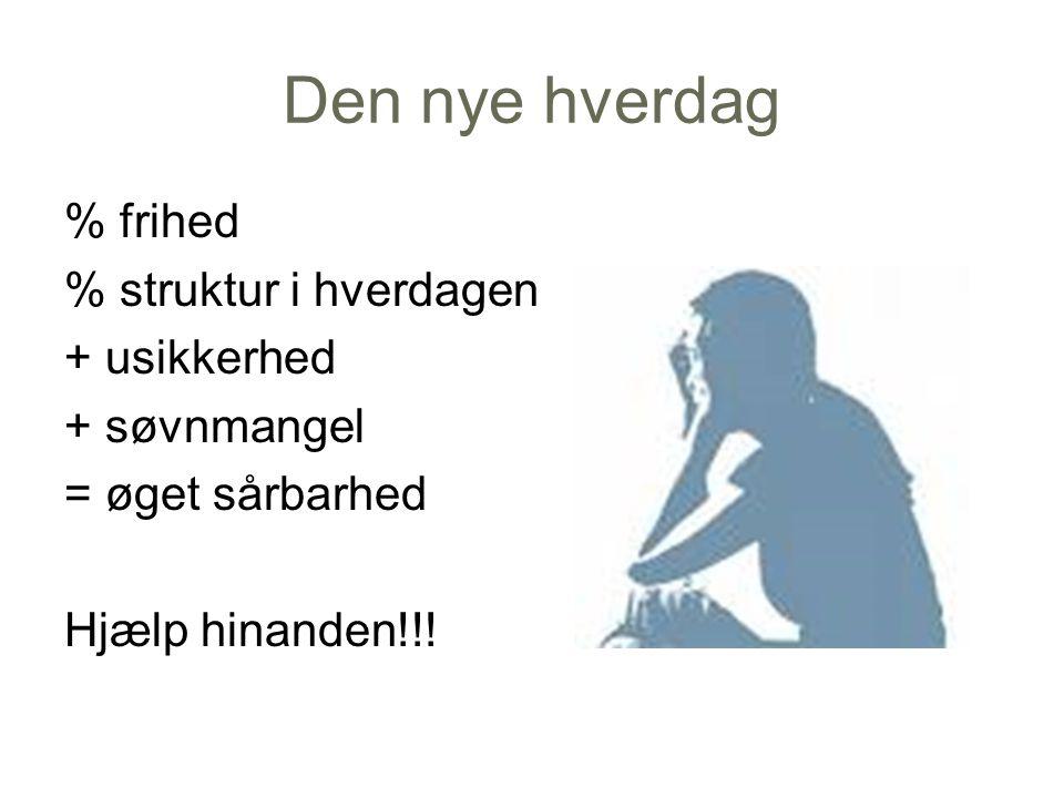 Den nye hverdag % frihed % struktur i hverdagen + usikkerhed + søvnmangel = øget sårbarhed Hjælp hinanden!!.