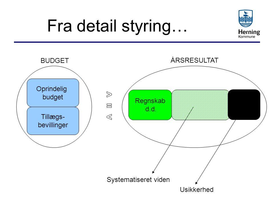 Fra detail styring… BUDGET ÅRSRESULTAT Oprindelig budget > Regnskab