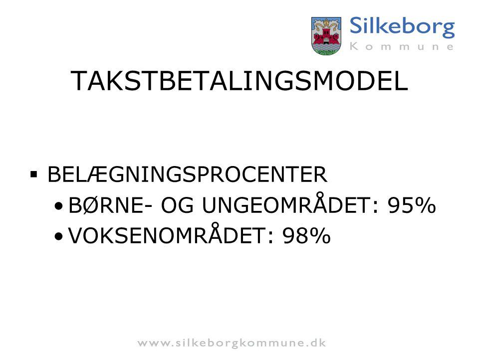 TAKSTBETALINGSMODEL BELÆGNINGSPROCENTER BØRNE- OG UNGEOMRÅDET: 95%