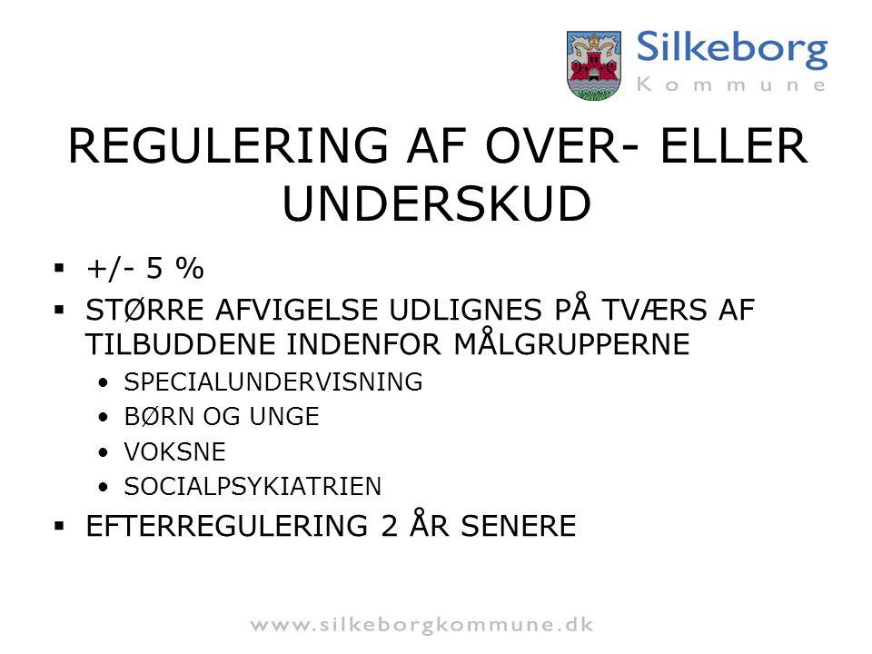 REGULERING AF OVER- ELLER UNDERSKUD