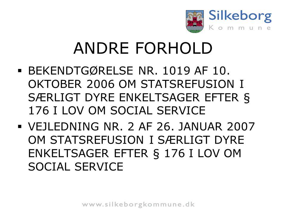 ANDRE FORHOLD BEKENDTGØRELSE NR. 1019 AF 10. OKTOBER 2006 OM STATSREFUSION I SÆRLIGT DYRE ENKELTSAGER EFTER § 176 I LOV OM SOCIAL SERVICE.