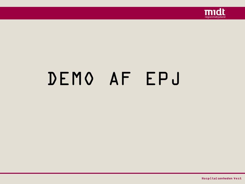 DEMO AF EPJ Pia vil nu gennemgå en meget kort præsentation af MidtEPJ, hvor vi blot vil vise nogle helt overordnede principper.