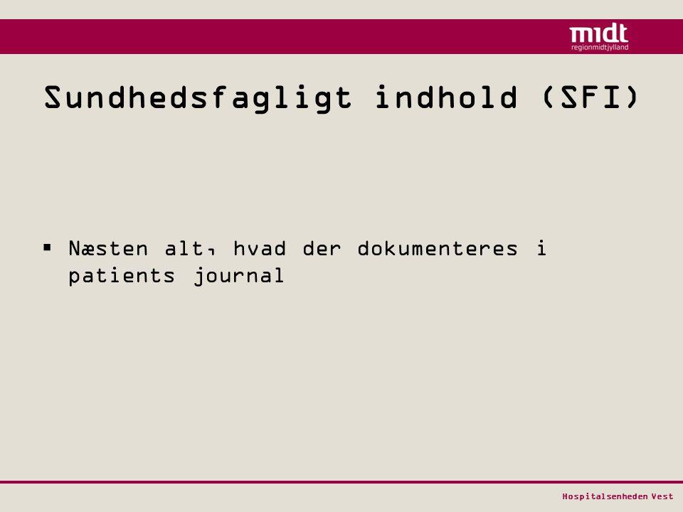 Sundhedsfagligt indhold (SFI)