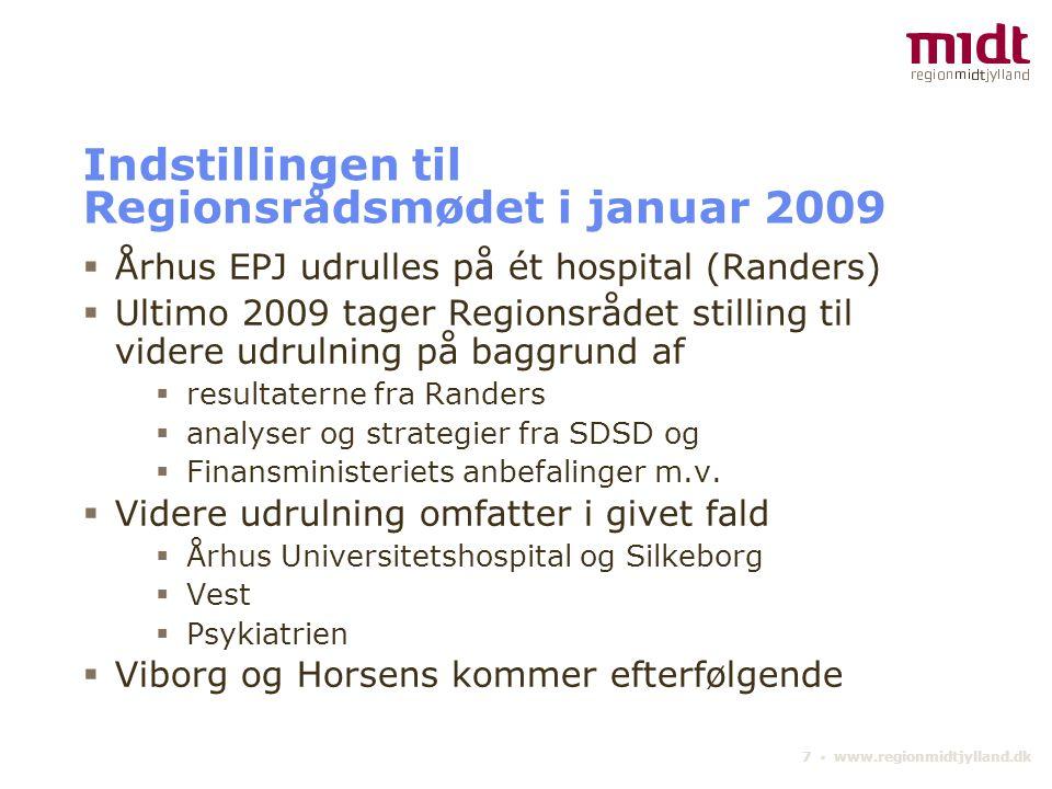 Indstillingen til Regionsrådsmødet i januar 2009