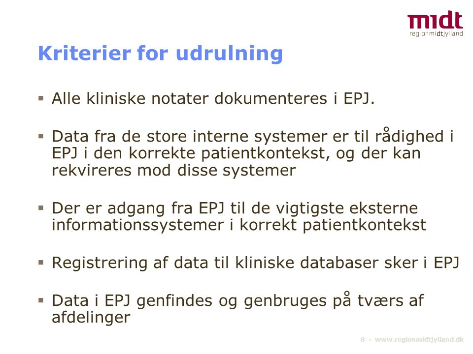 Kriterier for udrulning
