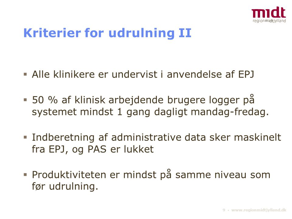 Kriterier for udrulning II