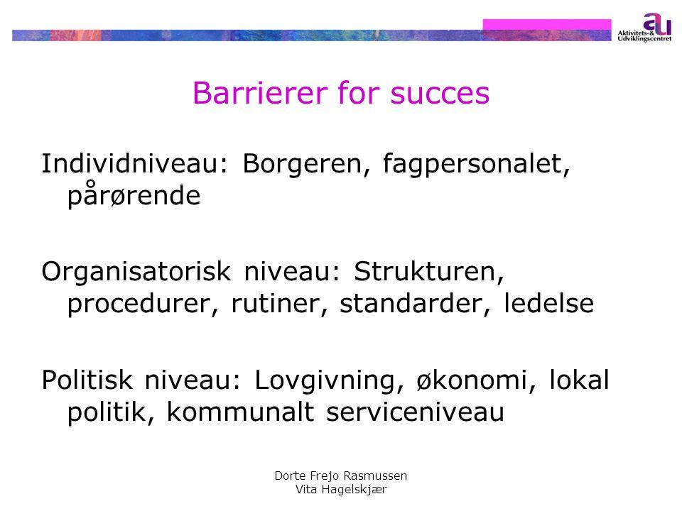 Barrierer for succes Individniveau: Borgeren, fagpersonalet, pårørende