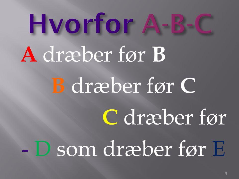 Hvorfor A-B-C A dræber før B B dræber før C C dræber før - D som dræber før E