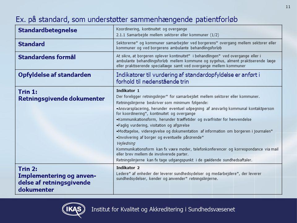 Ex. på standard, som understøtter sammenhængende patientforløb