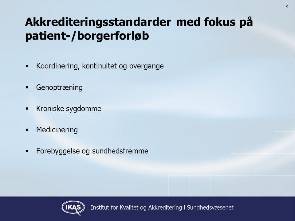 Akkrediteringsstandarder med fokus på patient-/borgerforløb