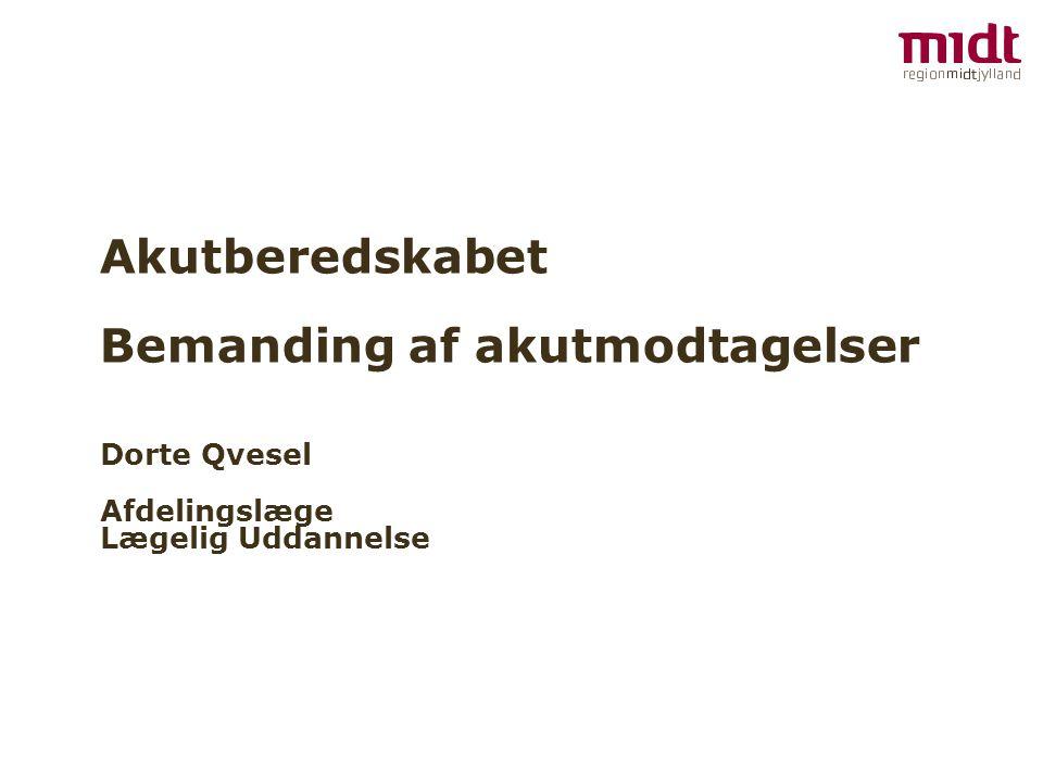 Akutberedskabet Bemanding af akutmodtagelser Dorte Qvesel Afdelingslæge Lægelig Uddannelse