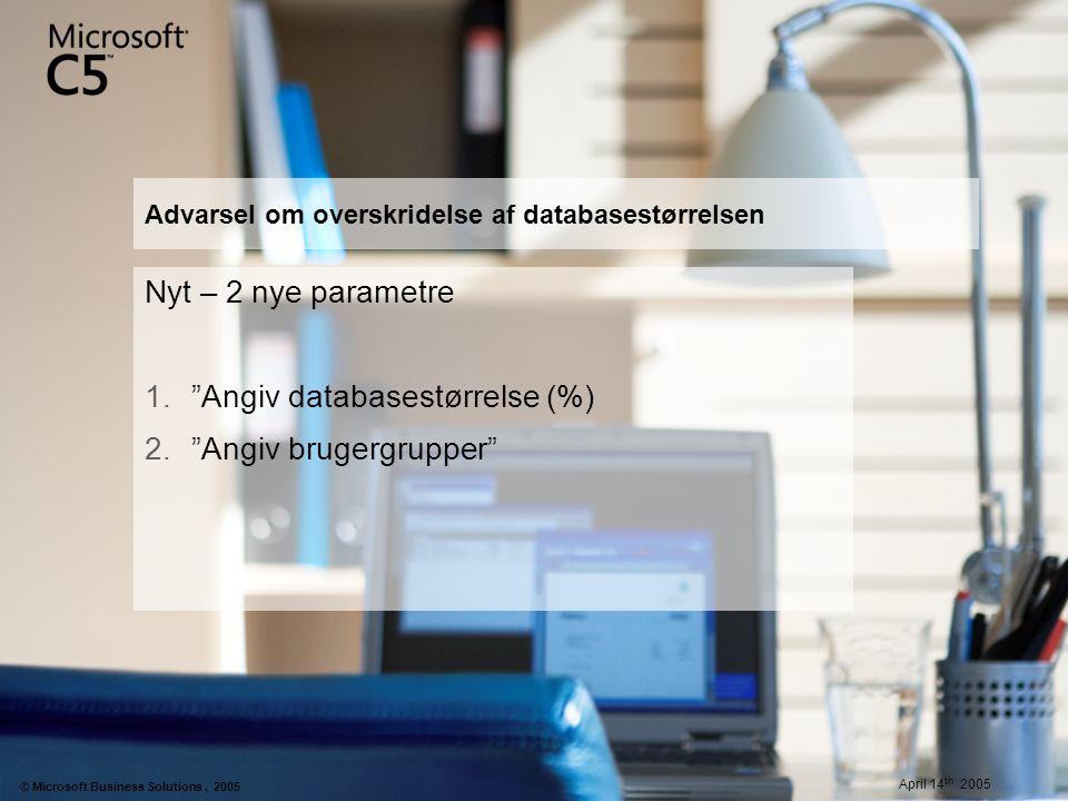 Advarsel om overskridelse af databasestørrelsen