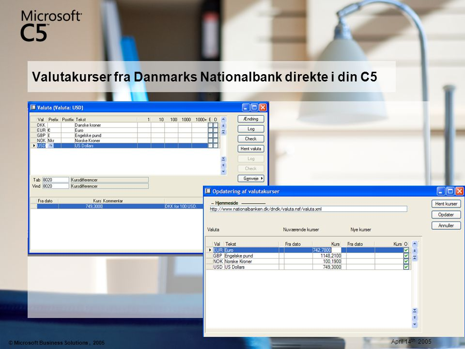 Valutakurser fra Danmarks Nationalbank direkte i din C5