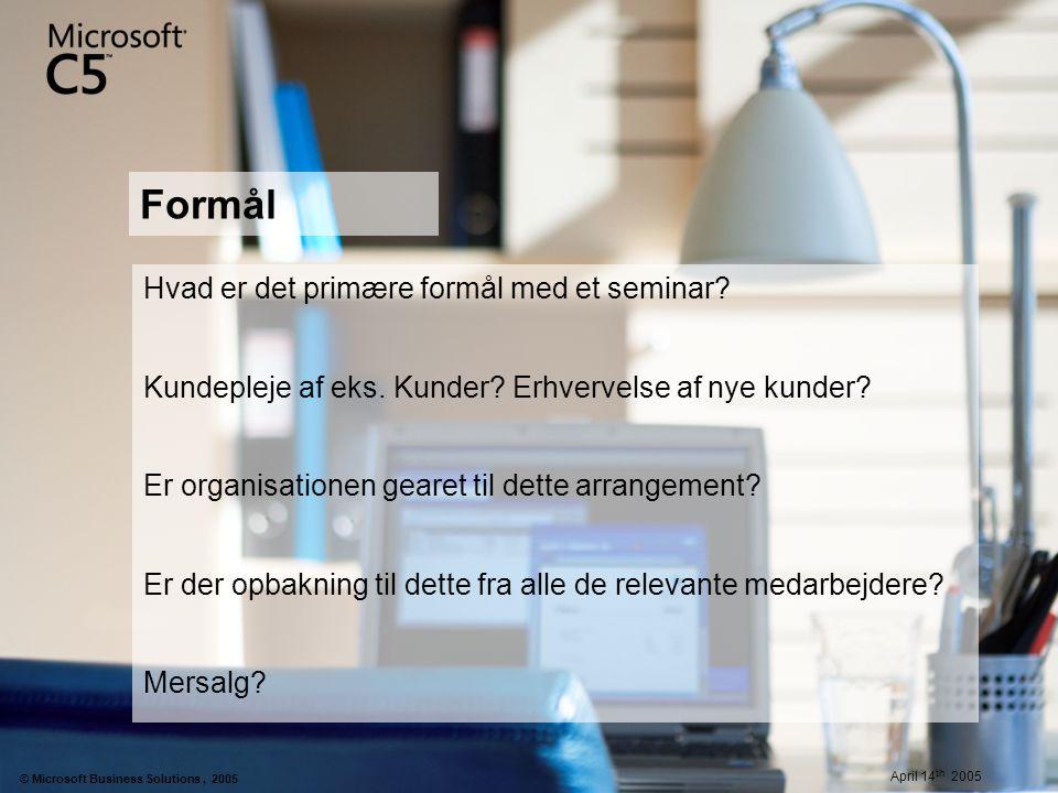 Formål Hvad er det primære formål med et seminar