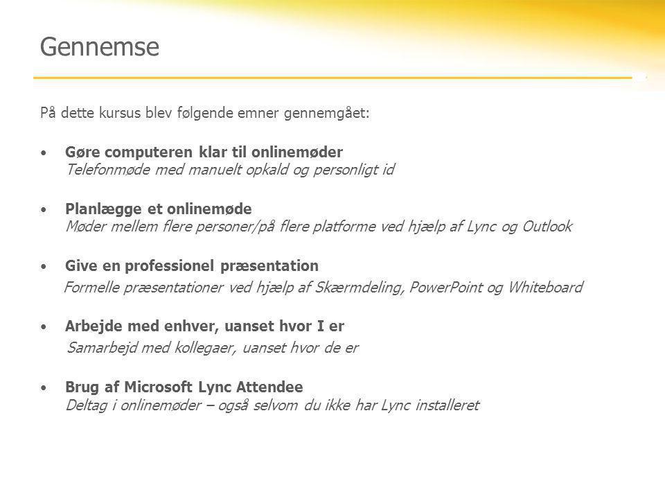 Gennemse På dette kursus blev følgende emner gennemgået:
