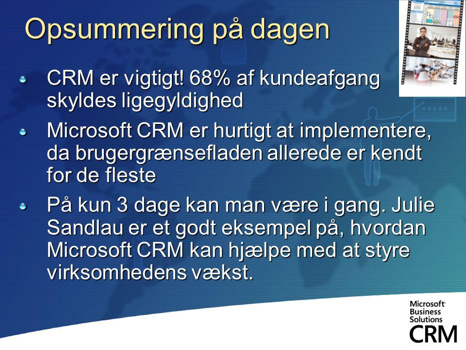 Opsummering på dagen CRM er vigtigt! 68% af kundeafgang skyldes ligegyldighed.